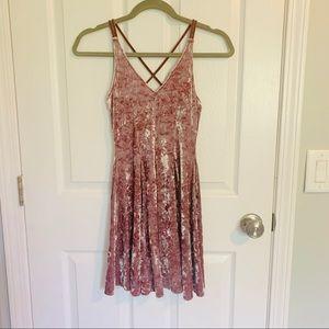 American Eagle pink velvet mini dress